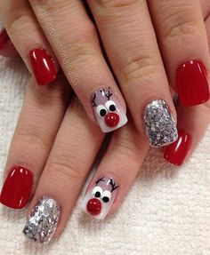 80 Gorgeous Christmas Nail Art Designs To Beautify The Moment - Page 155 of 160 - CoCohots - Nail Designs Xmas Nail Art, Christmas Gel Nails, Christmas Nail Art Designs, Holiday Nails, Snowman Nail Art, Easy Christmas Nail Art, Christmas Design, Cute Acrylic Nails, Cute Nails