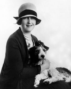 Agatha Christie and one of her dogs, 1930's