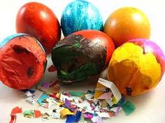 Cascarones. Mexican Confetti eggs, Easter tradition in my family. Fill dyed egg shells with confetti, cover with tissue and crack on the head of your loved one. Awesome fun!