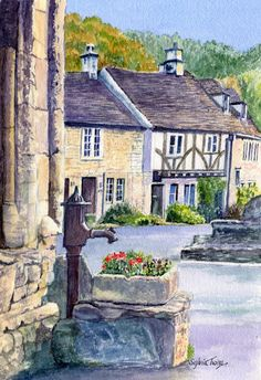 Castle Coombe. A watercolour by Sylvia Twiss