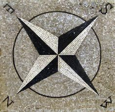 Compass rose mosaic mural .  www.mosaicsyourway.com