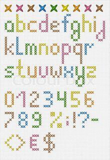 Bunte Kreuzstich Klein Englisch Alphabet