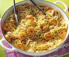 Thai Lime Shrimp & Noodles Recipe -The flavors just keep popping in this quick dinner! Use as much lime peel and chili paste as you like. My family is into spicy foods, but I kept the heat moderate in this version. Noodle Recipes, Spicy Recipes, Shrimp Recipes, Asian Recipes, Cooking Recipes, Ethnic Recipes, Lime Recipes, Paula Deen, Star Pasta Recipe