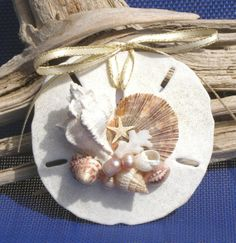 Decorating Sand Dollars for Christmas | BEACH SAND DOLLAR No. 4 Christmas ornament, seashells, ... | Christmas