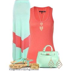 Coral and mint green maxi skirt outfit