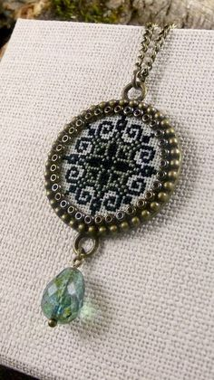 Geometric cross stitch pendant, Seafoam, Black embroidered necklace, Snowflake pendant, Textile pendant, Brass classical pendant necklace