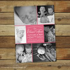 a photo collage style birth announcement photo card for baby boy or baby girl!