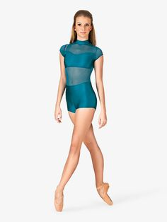 A stylish performance outfit! This sleek short sleeve unitard features matching power mesh inserts on the front and back, an invisible back zipper for easy on and off, and a mock neck. Unitard is not lined. Dance Moms Costumes, Dance Outfits, Group Dance, Dance It Out, Dance Pictures, Dance Wear, Mock Neck, Cap Sleeves, Stylish
