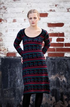 KAINO Knitwear AW13 - Knitted Dress Winter Berry Winter Dresses, Dress Winter, Knit Dress, Knitwear, What To Wear, The Past, High Neck Dress, Dresses With Sleeves, Long Sleeve
