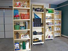 DIY Rolling Storage Shelves for the Garage Shelving Solutions, Garage Storage Solutions, Storage Ideas, Tool Storage, Workshop Storage, Garage Workshop, Organizing Solutions, Garage Studio, Bike Storage