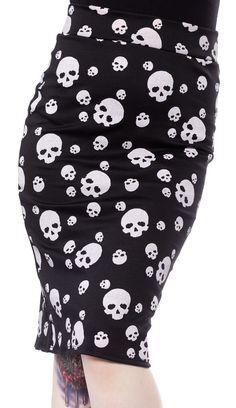 NEED YER SKULL PENCIL SKIRT $19.00 #skirt #pencilskirt #skulls #pinup #psychobilly
