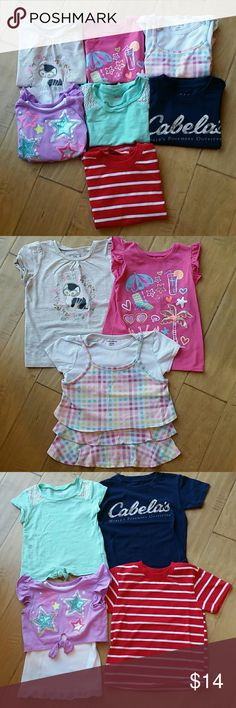 Girls Tops Size 4T 7 piece lot! Save big when you bundle girls tops, size 4T. All gently worn, in very good to excellent condition. No stains or major flaws. Smoke free, dog free home. Offers welcome ♡  * Sparkly kitty tee - Little Golden Book Moments  * Pink summer ruffled sleeve tank - Garanimals  * Pink plaid ruffled layered tee - Garanimals  * Purple sparkly layered tank - Garanimals  * Mint green knotted bottom tee - Old Navy  * Navy & camo tee - Cabela's  * Red & white striped tee…