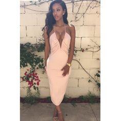 0536f9a4646 Cheap Sexy V Neck Spaghetti Strap Sleeveless Backless Pink Cotton Blend  Sheath Knee Length Dress_Dresses_Womens Clothing_LovelyWholesale