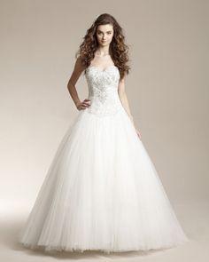 Sweetheart Beading Embroidery Floor Length Court Train Satin Ball Grown Wedding Dress...