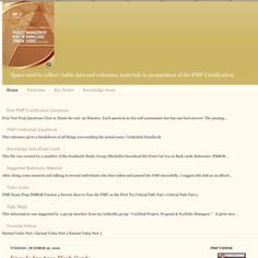 Blog created 2010 for Project Management Professional Certification