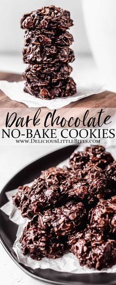Dark Chocolate No Bake Cookies are richer and more indulgent than the traditional recipe, but just as easy to make. You and your family will love these sweet, chewy treats! Instructions include how to make gooey or set cookies, depending on your own personal preferences. | #cookies #nobakecookies #darkchocolate #chocolate #chocolatelovers Easy Baking Recipes, Easy Cookie Recipes, Best Dessert Recipes, Brownie Recipes, Chocolate Recipes, Easy Desserts, Delicious Desserts, Bar Recipes, Chocolate Lovers