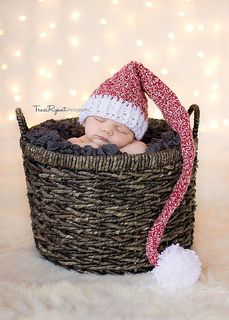 "Elf-style Stocking Hat: (free) crochet hat pattern (sizes newborn thru young adult) written by Ashley Thurman, for ""Cherished Bliss"" (via Ravelry)."
