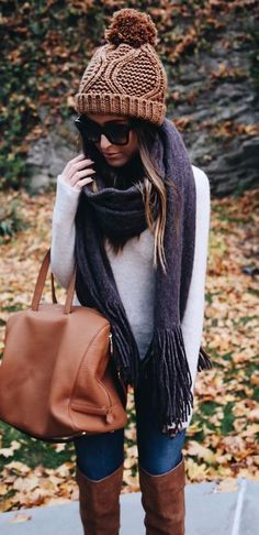 cute outfit: hat + scarf + sweater + bag + jeans + over the knee boots