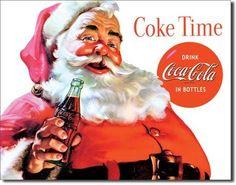 Coca Cola Coke Santa Holiday Vintage Advertising Tin Sign Metal Made in USA | eBay