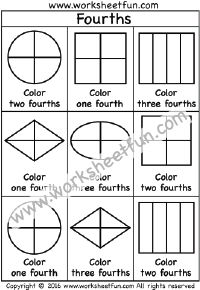 Fractions – Fourths – Coloring 1/4 – One Worksheet