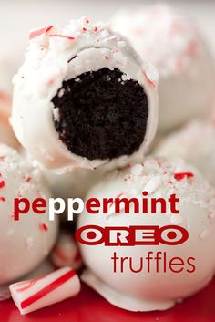 Oreo Truffles Two Ways - the original and this peppermint version. These are the first thing to go at parties! Only 3 ingredients for the original kind (5 for peppermint).