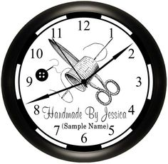 Personalized Sewing / Seamstress / Alterations / Craft Room Custom Wall Clock Decor Gift Idea For That Special Lady. Sewing Room Decor, My Sewing Room, Sewing Rooms, Wall Clock Gift, Clock Decor, Hickory Dickory, Simply Southern, Custom Wall, Room Organization
