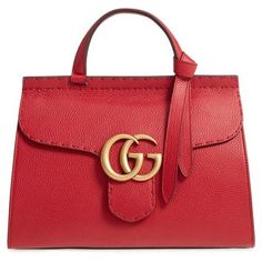 Women's Gucci Gg Marmont Top Handle Leather Satchel (10,290 MYR) ❤ liked on Polyvore featuring bags, handbags, volcanic red, red leather handbags, genuine leather purse, red handbags, gucci purse and top handle satchel handbags