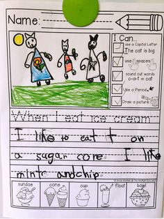 """Journal Prompts that help BEGINNING Writers SUCCEED with """"I Can"""" Statements and an Illustrated Word Bank to help generate ideas!"""
