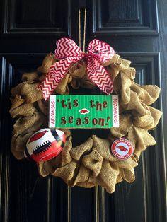 Razorback football season wreath-obviously mine would be Gators :)