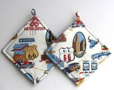 Route 66 Pot Holders Chicago to Arizona by QuiltingGranny on Etsy