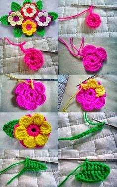 Crochet Flower Patterns Step by step images of this pretty pink and yellow flower. ﻬஐCQஐﻬ crochet spring crochetflowers flowers - Step by step images of this pretty pink and yellow flower. Crochet Diy, Crochet Motifs, Crochet Flower Patterns, Love Crochet, Crochet Crafts, Yarn Crafts, Crochet Stitches, Crochet Projects, Crochet Tutorials