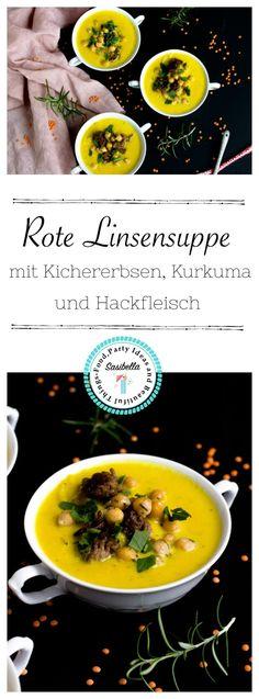 Einfache und schnelle rote Linsensuppe mit Kichererbsen und Kurkuma. Ein leckeres Suppenrezept für den Herbst.
