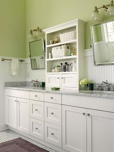 I love the shaker cabinets and beadboard walls.  green is nice shade too - maybe for new bathroom