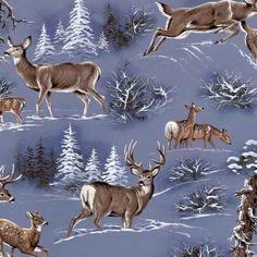 Anti Pill Fleece Fabric- Deer In The Snow at Joann.com