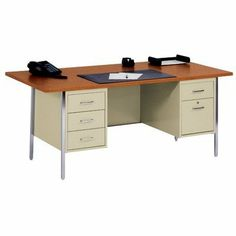 """72"""" W Double Pedestal Large Executive Desk with File Drawer Desk/Top Color: Putty/Oak by Sandusky Cabinets. $499.99. DP7236-PU Desk/Top Color: Putty/Oak Features: -Double pedestal large office desk.-Two pedestals with one locking file drawer and three box drawers.-Ships assembled except legs and handles. Dimensions: -Overall dimensions: 29.5'' H x 72'' W x 36'' D."""