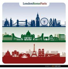 Ciudades horizonte europa Vector Gratis