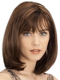 Celine by Louis Ferre Wigs – Monofilament Wig – - Schulterlange Haare Ideen Haircuts With Bangs, Hairstyles For Round Faces, Wig Hairstyles, Vintage Hairstyles, Wedding Hairstyles, Pretty Hairstyles, Medium Hair Cuts, Medium Hair Styles, Short Hair Styles