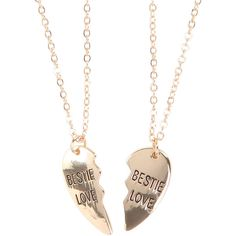 Bestie Love Heart Best Friend Necklace Set Hot Topic ($5.95) ❤ liked on Polyvore featuring jewelry, heart shaped jewelry y heart jewelry
