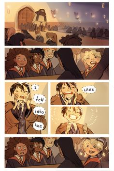 "perplexingly: "" All these interesting parts in Harry Potter and my favourite is the one where Dennis Creevey falls into the lake off-screen ""<< it happened in the book :P Harry Potter Comics, Harry Potter Anime, Harry Potter World, Mundo Harry Potter, Harry Potter Fan Art, Harry Potter Universal, Slytherin, Pixar, Severus Rogue"