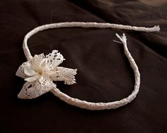 Ivory Lace Headband with a Lace Bow and Real Preserved Flower