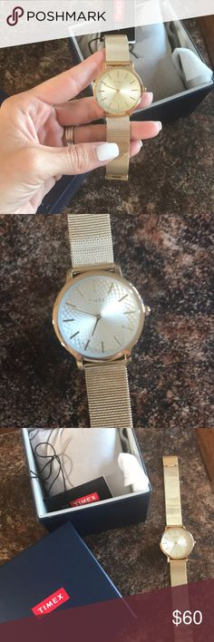 Timed Watch! Gold mesh band with lighter gold face. Adjustable strap. New with tags & box. Never used. Timex Accessories Watches