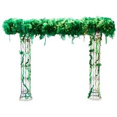 """DIY Reception Theme Idea for your Safari Reception - Hidden Garden Wire Arch Kit - A spectacular entrance to your secret place!  Kit includes one 9' high x 12' wide x 24"""" deep lighted wire arch with mini lights, green gossamer, and green glitter tulle. Complete theme includes two arches."""