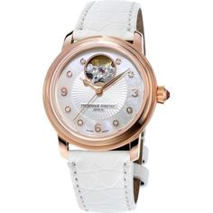Frederique Constant FC-310HBAD2P4 Heart Beat rose gold-plated, diamond... (9,050 AED) ❤ liked on Polyvore featuring jewelry, watches, white, white diamond jewelry, diamond jewellery, heart shaped diamond jewelry, white watches and white diamond watches