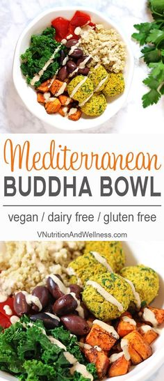 10 Most Misleading Foods That We Imagined Were Being Nutritious! Mediterranean Bowl With Falafels And Hummus Dressing Buddah Bowls Inspired By The Mediterranean - Healthy And Tasty Vegan Bowl Recipe Via Vnutritionist Vegan Bowl Recipes, Vegan Dinner Recipes, Vegan Dinners, Lunches And Dinners, Whole Food Recipes, Diet Recipes, Vegetarian Recipes, Healthy Recipes, Vegan Food