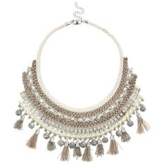Limited Silver Pearl Tassel Bib Necklace ($30) found on Polyvore