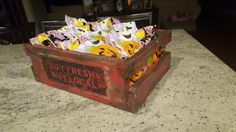 Custom trick or treat or everyday basket. This was made from random scraps of wood and then hand painted to give it a nice rustic look.