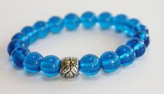 Blue Czech Glass beaded bracelet / stretch by JustforJoyCreations, $10.00