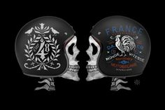 The French graphic design studio BMD present its private collection of helmets designed with resolutely old school influences. Between an American biker style, Hand Typography, Hand Lettering, Retro Helmet, Helmet Logo, Custom Helmets, Mens Gear, Lowbrow Art, Bike Art, Graphic Design Studios