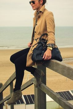 Black skinnies, camel trench, plain l/s button up, grey booties, black handbag