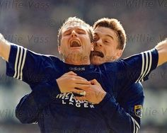Phoenix FC coach David Robertson celebrating w/ Gazza back in the day.  Phoenix pride is the only reason I'd ever post a pic of anyone in Rangers gear...
